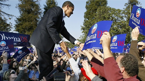 Barack Obama lors de sa campagne présidentielle de 2008