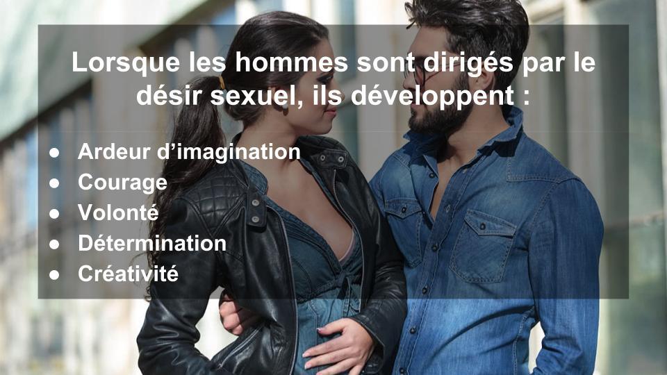 Lorsque les hommes sont dirigés par le désir sexuel, ils développent : Ardeur d'imagination, Courage, Volonté, Détermination et Créativité