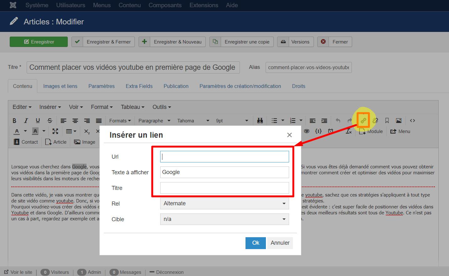 Optimiser ajout d'un lien sur Joomla