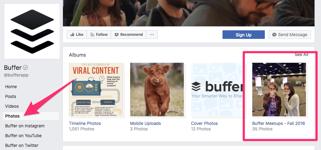 page facebook buffer