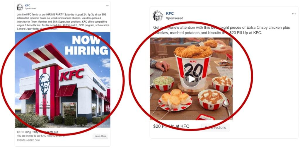 format publicitaire Facebook