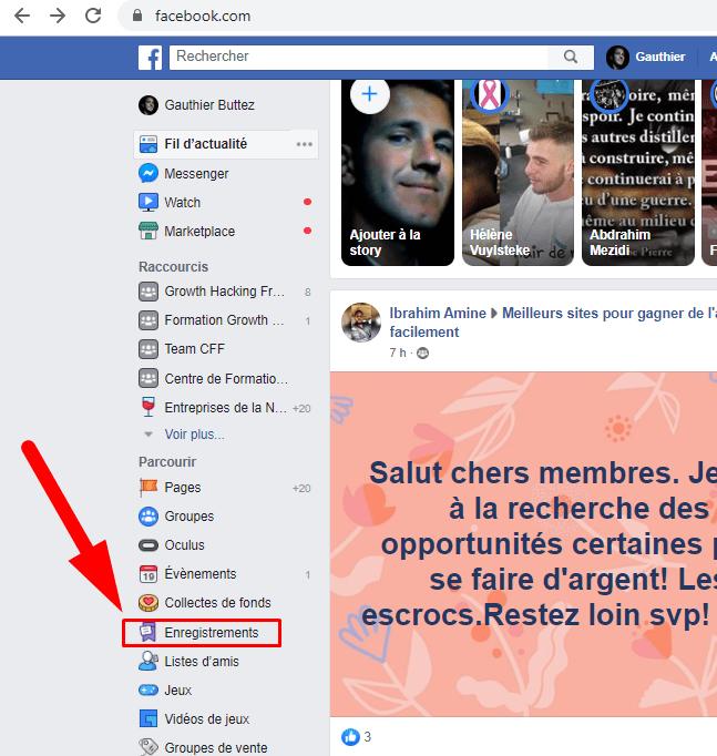 post facebook enregistres