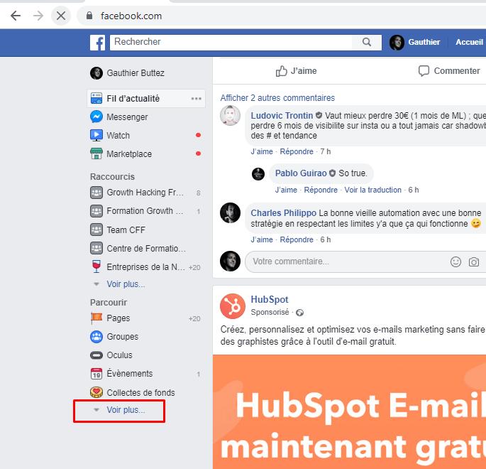 post facebook sauvegardés