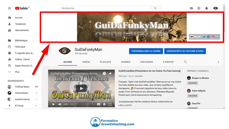 N'oubliez pas d'insérer vos liens sociaux dans votre bannière de chaîne YouTube