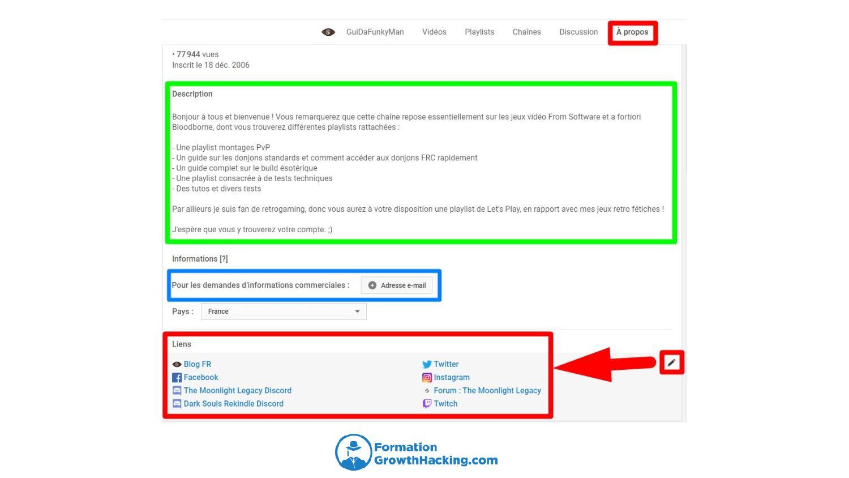 En bas vous ajoutez vos liens, au-dessus vous pouvez ajoutez une description de votre chaîne, ainsi qu'une adresse mail qui vous servira pour vos prochains échanges commerciaux.