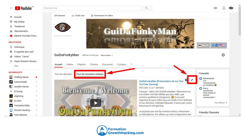 """Via l'onglet """"personnalisation de la chaîne"""", faîtes en sorte que votre vidéo d'introduction soit visible de vos futurs abonnés."""