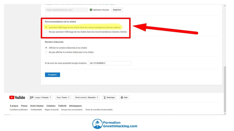 Veillez à bien cocher la case relative à l'intégration de vos vidéos YouTube dans celle des autres.