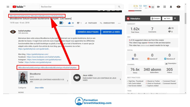 Essayez de placer des hashtags dans la description de vos vidéos YouTube. Néanmoins, seulement 3 apparaîtront au-dessus de leur titre.