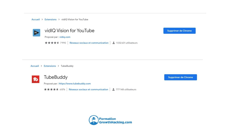 Servez-vous des extensions Chrome VidIQ et TubeBuddy pour les balises hashtag de vos vidéos YouTube.