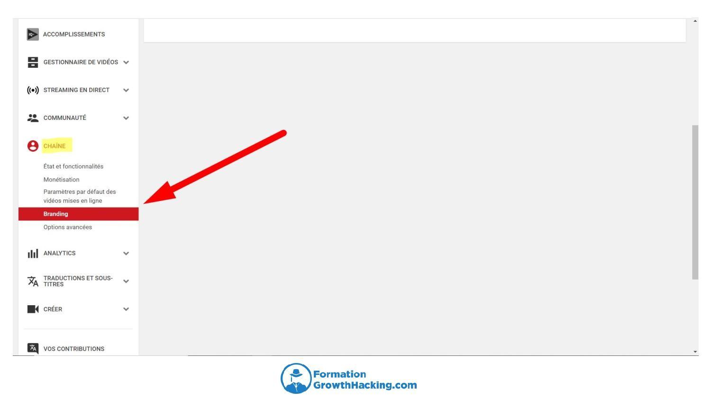 Pour créer un watermark, allez dans le creator studio de YouTube, puis cliquez sur chaîne, puis sur branding.
