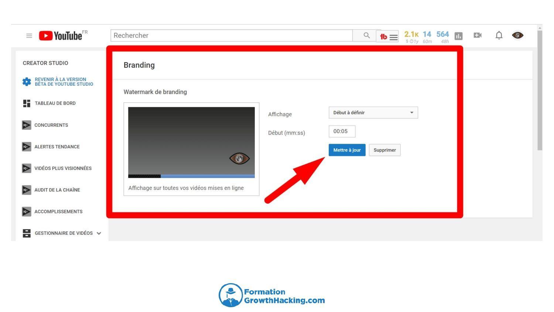 Vous pouvez choisir le moment où votre watermark va appara^tre dans votre vidéo YouTube et son degré de transparence.
