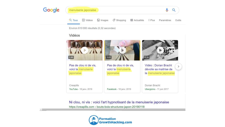 Faîtes de même dans Google et vous verrez quelles vidéos YouTube le moteur de recherche place en premier.