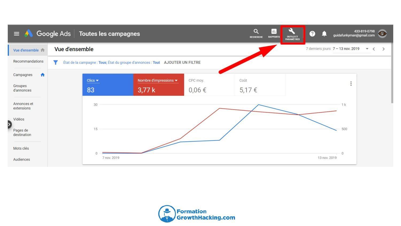 Allez sur votre compte AdWords et cliquez sur Outils et Paramètres.