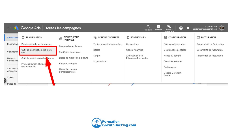 Cliquez ensuite sur Planificateur de mots-clés.