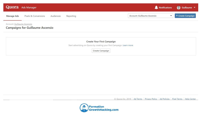 Rendez-vous sur https://www.quora.com/ads/ et créez un compte publicitaire.
