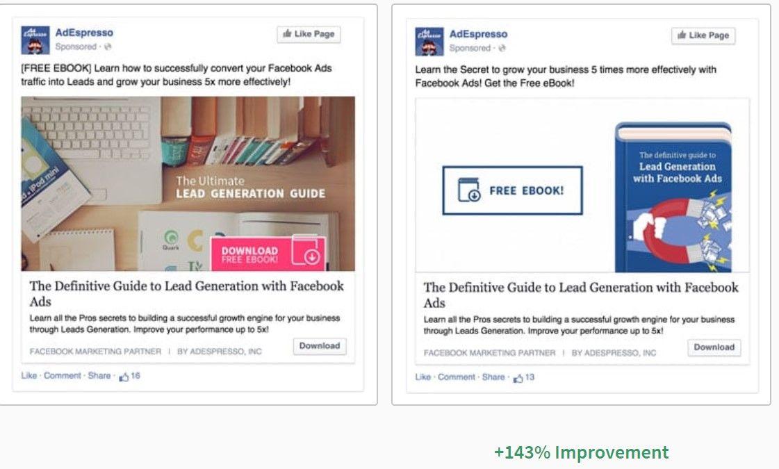 Test AB effectué par Adespresso sur un Facebook Ads #GrowthHacking #WebMarketing #FormationGrowthHacking #CentreDeFormationFrance #TunnelAARRR #AARRR #SocialMedia #CommunityManagement #SEO #facebookads