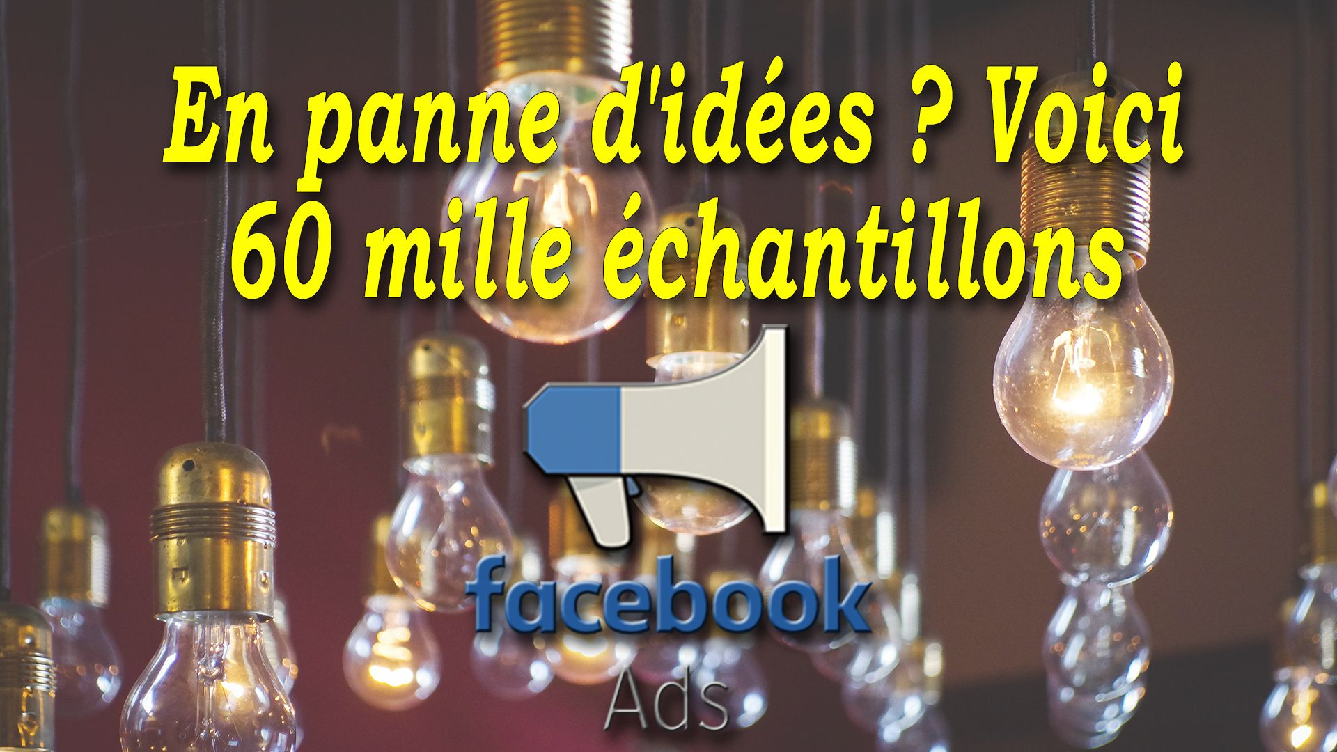 En panne d'idées ? Voici 60 mille échantillons Facebook Ads #GrowthHacking #WebMarketing #FormationGrowthHacking #CentreDeFormationFrance #TunnelAARRR #AARRR #SocialMedia #CommunityManagement #SEO #facebookads