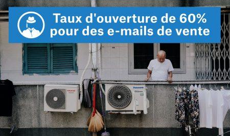 Taux d'ouverture de 60% pour des e-mails de vente